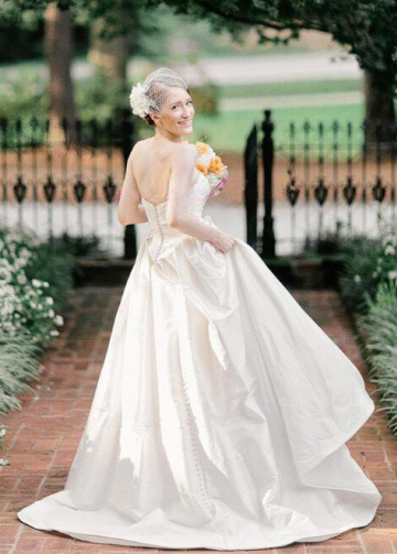Ruched Strapless Simple Satin Bridal Gowns with Chapel Train