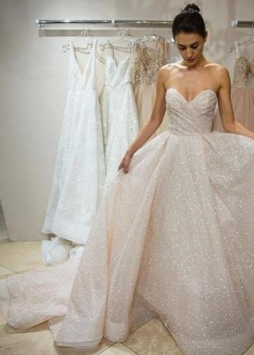 Ruching Sweetheart Sequin Wedding Dress with Long Train