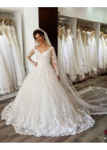 Romantic Lace Wedding Gown Dress with Sheer Long Sleeves
