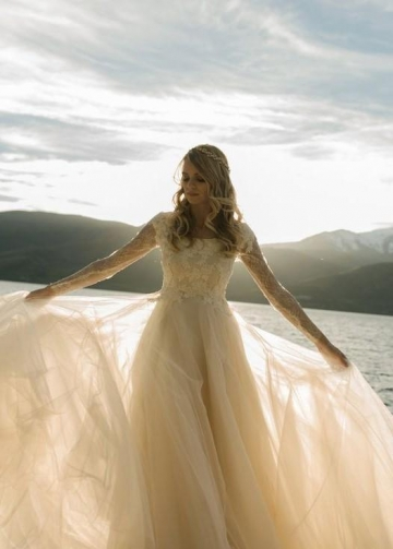 Romantic Champagne Wedding Dress with Lace Long Sleeves