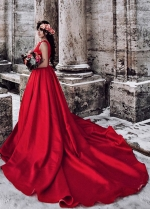 Red Wedding Gown with Jewel Neckline for Wedding PhotoShoot