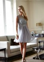 Sheer Boat Neck Lace Chiffon Short Gray Cocktail Dresses
