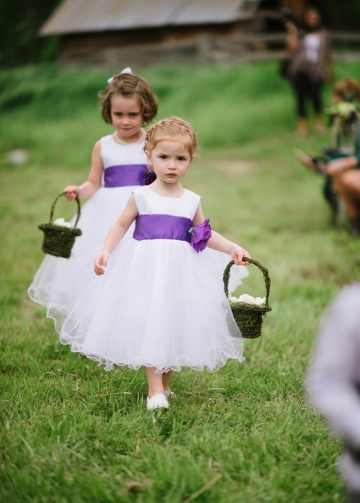 Satin and Tulle Flower Girl Dress with Purple Flower Sash
