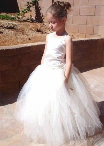 Square Neck Lace Corset Flower Girls Dresses with Puffy Tulle Skirt