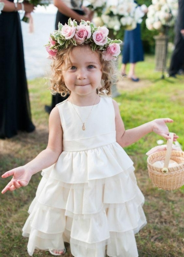 Sleeveless Tiered Flower Girls Dresses for Wedding Party