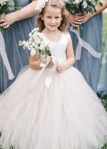 Scoop Neck Tulle and Satin Flower Girl Dress with Rhinestones Belt