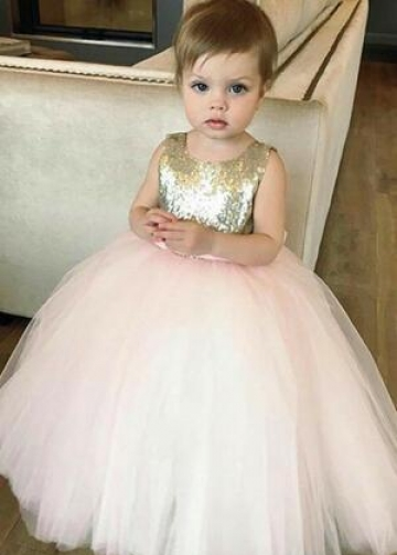 Sequin Tulle Flower Girls Dress Ball Gown with Bow Belt