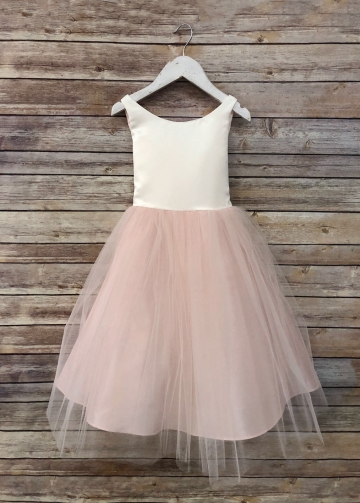 Scoop Neck Ivory Champagne Flower Girl Dress with Tulle Skirt