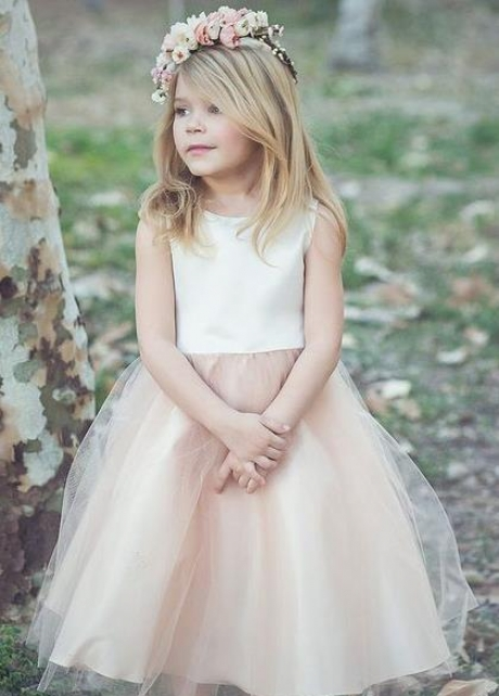 Scoop Neck Ivory Champagne Flower Girl Dress with Tulle Skirt