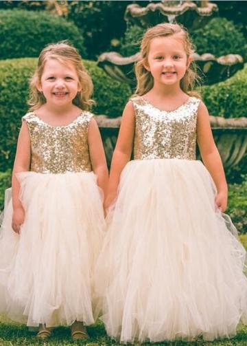 Scoop Neck Gold Sequin Wedding Party Dress for Children