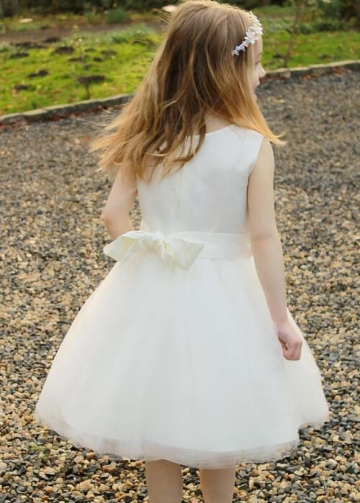 Satin and Tulle Tea-length Ivory Flower Girl Dress with Ribbon Belt