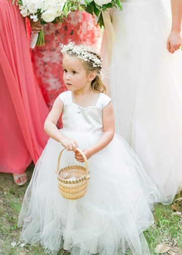 Square Neck Floor Length Ivory Flower Girl Dress Tulle