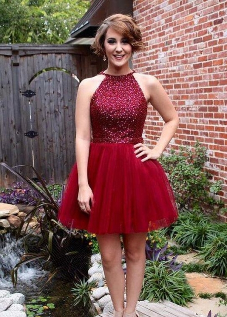 Sleeveless Sequin Tulle Short Homecoming Gown