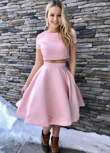 Satin Short Sleeves Pink Homecoming Dresses Two Piece