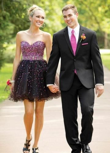 Sexy Sweetheart Crystals Black Homecoming Dress Short