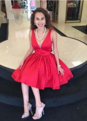 Satin A-line Red Homecoming Dresses with Illusion-inset V-neckline