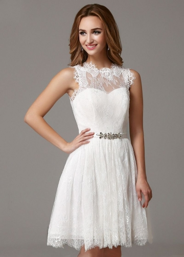 Sleeveless Short Lace Little White Dress for Homecoming Party