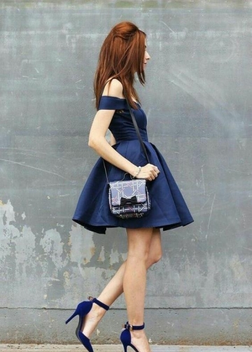 Satin Navy Blue Homecoming Dresses Short Off-the-shoulder