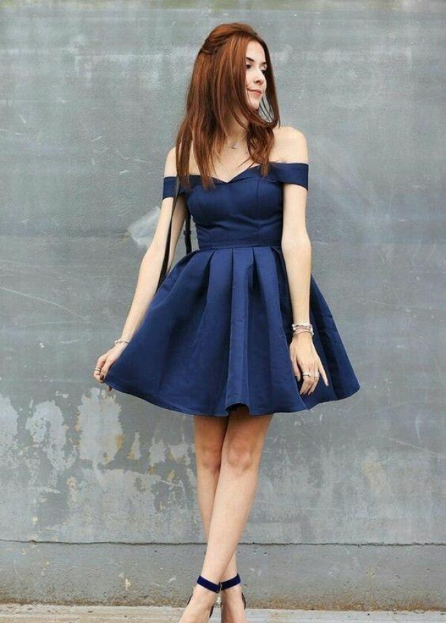 Satin Navy Blue Homecoming Dresses Short Off-the-shoulder