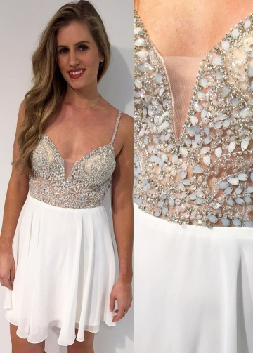Stones and Beaded Chiffon White Homecoming Party Dresses Short