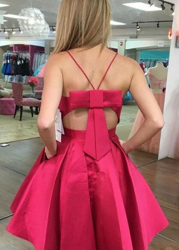 Satin French Fuchsia Homecoming Dress Short Bow Ribbon Back