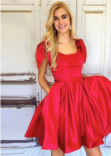Square Neck Red Homecoming Dresses with Big Bows