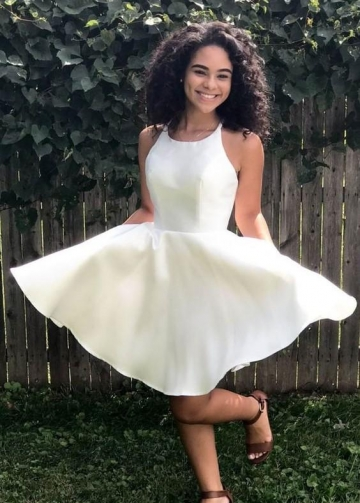 Sleeveless Satin Ivory Homecoming Dresses Cheap vestido de cocktail