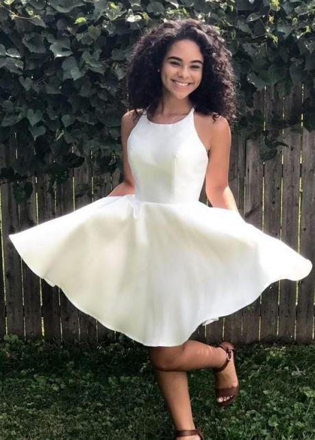 Sleeveless Satin Ivory Homecoming Dresses vestido de cocktail