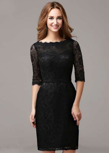 Slim Short Black Lace Cocktail Dress with Half Sleeves Vestido de coctail