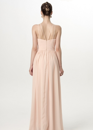 Sleeveless Halter Straps Backless Blush Bridesmaid Dresses Floor Length