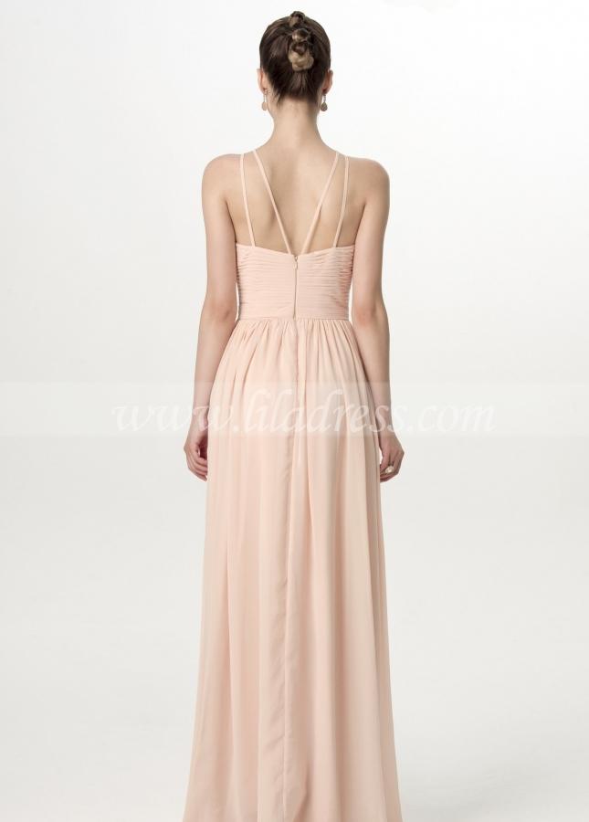 Sleeveless Halter Straps Backless Blush Bridesmaid Dresses Floor Length