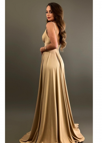 Sexy V-neckline A-line Champagne Bridesmaid Gown with Side Slit