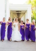 Sweetheart Long Chiffon Empire Waist Bridesmaid Dresses Purple