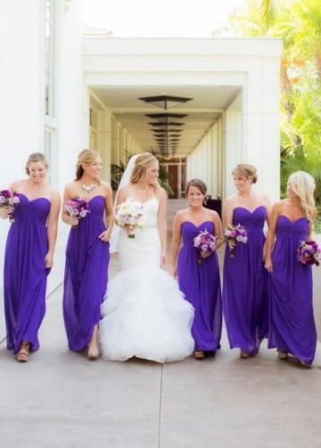 Sweetheart Long Chiffon Empire Waist Bridesmaid Dresses Purple