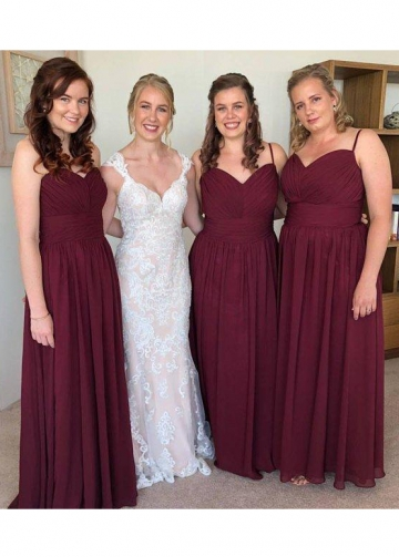 Spaghetti Straps Chiffon Burgundy Bridesmaid Long Dresses
