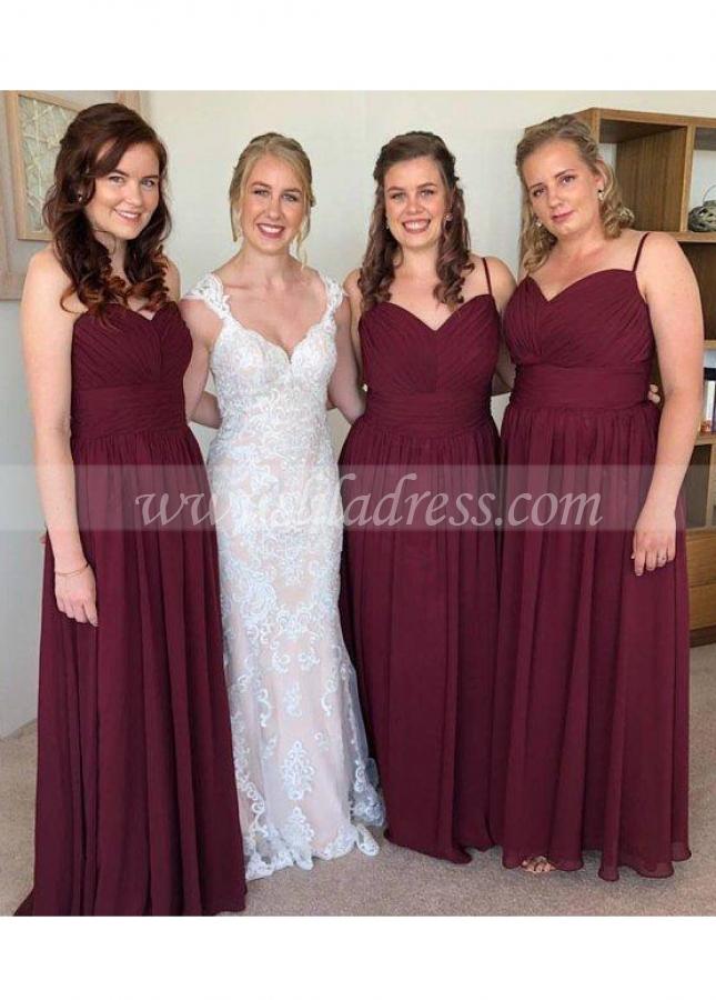 Spaghetti Straps Chiffon Burgundy Bridesmaid Long Dresses