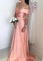 Satin Long Pink Bridesmaid Dress with Off-the-shoulder