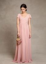 Short Sleeves Pink Chiffon Bridesmaid Dress V-neckline
