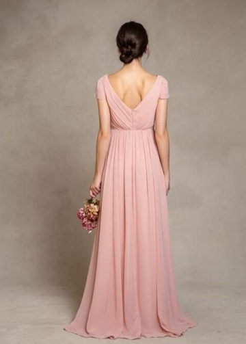 Short Sleeves Pink Chiffon Bridesmaid Dress V-neckline