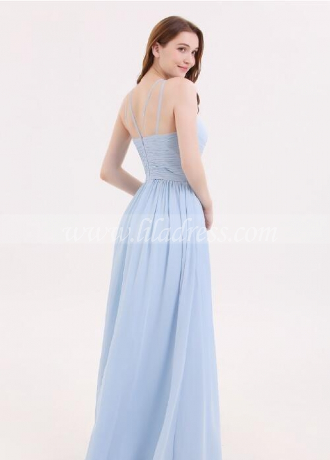 Sky-blue Wedding Guset Dress for Adult Chiffon Party Gown