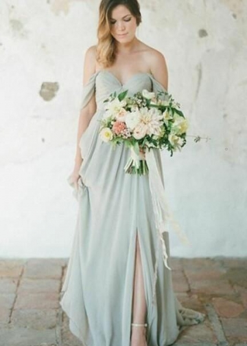 Sage Long Bridesmaid Wedding Party Dresses Chiffon Skirt