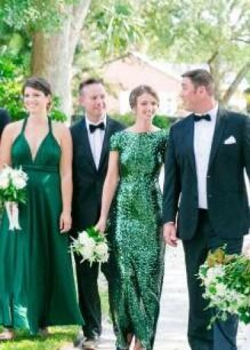 Sequin Emerald Green Wedding Party Dresses with Short Sleeves