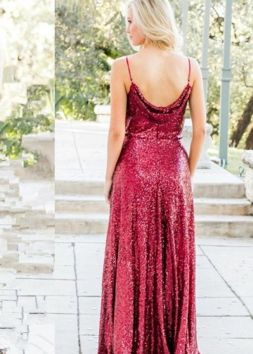 Sequin Burgundy Bridesmaid Gown Floor-Length