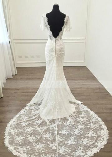 Short Sleeves Lace Wedding Dress Mermaid Style