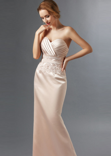 Sweetheart Beaded Appliques Satin Champagne Mother Dress de la novia de la novia