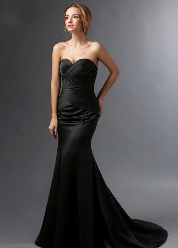 Sweetheart Satin Black Mermaid Mother of the Groom Dress with Bolero