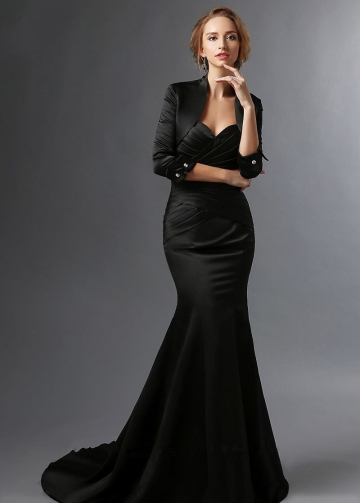 Sweetheart Satin Black Mermaid Mother of the Groom Dress with Bolero