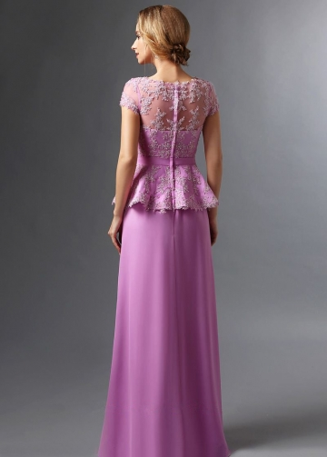 Sheer Neck Lace Short Sleeves Mother Evening Dress with Peplum