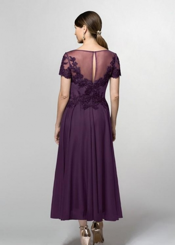Short-sleeves Grape Chiffon Mother of the Groom Dress with Beaded Lace