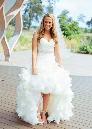 Sweetheart Ruffled Organza Mermaid Wedding Dress with Belt